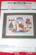 Used Bucilla Christmas Counted Cross Stitch Picture Kit Checking His List Santa - $14.99
