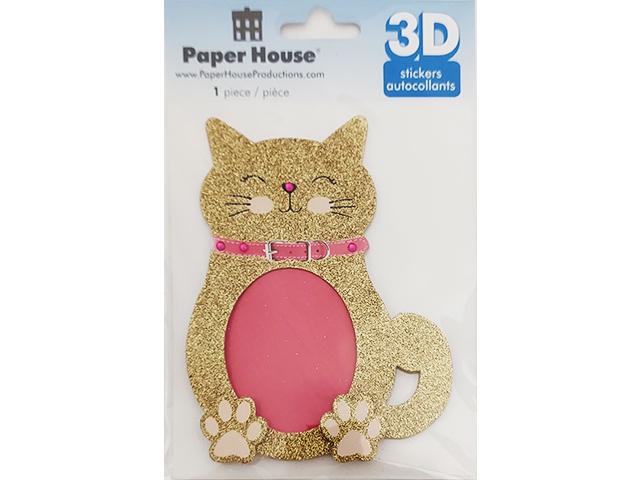 Paper House 3D Sticker Glittered Cat Frame #STKS-0016