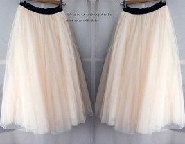 Cream Ivory Tulle Maxi Skirt High Waisted Plus Size Ivory Long Maxi Tulle Skirt image 5