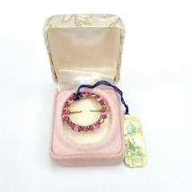 Vintage Carole A California Creator Pink Rhinestone Wreath Circle Brooch... - $24.24