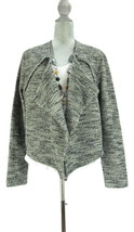 ANN TAYLOR Black/Neutral Marled Long Sleeve Open Front Cardigan Sweater L - $10.08