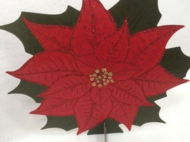 6 HOLIDAY TIME Red Poinsettia Table Decoration Christmas Xmas 25324 - $23.16