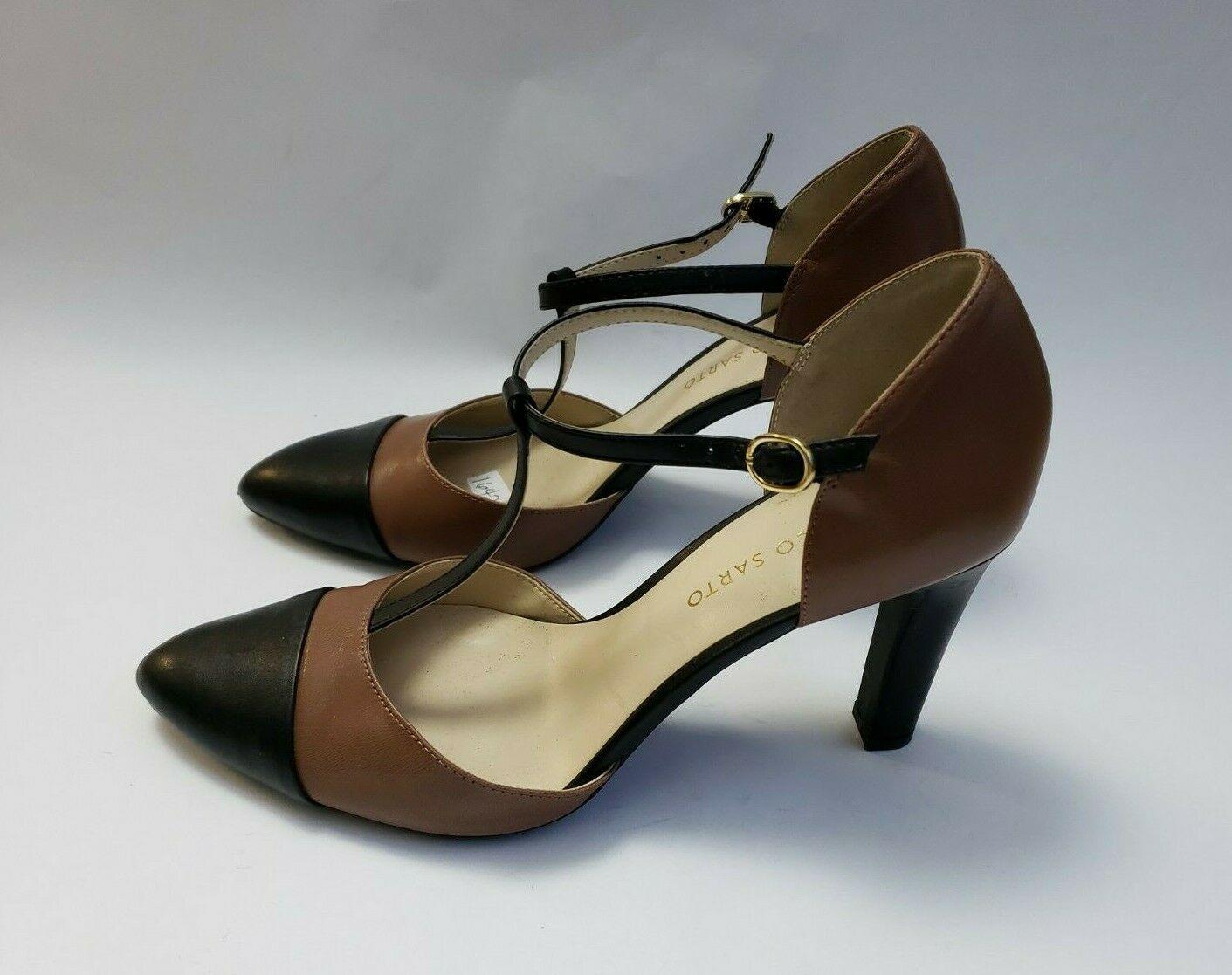 Franco Sarto Shoes Heels Brown Black T-Strap Tanda Womens Size 8.5 M image 3