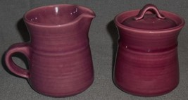 Metlox Colorstax PLUM/PURPLE COLOR Creamer and Sugar Set MADE IN CALIFORNIA - $29.69