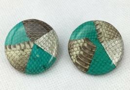 Vintage Snakeskin Pattern Pierced Earrings Large Round Teal Green Silver... - $7.16