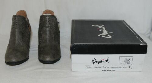 Qupid Maze125 Grey Distress Pu Closed Toe Block Heel Ankle Boots Size 6