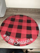 (1) Christmas Red And Black Plaid Charger Plate. Plastic. Tis The Season. - $13.67