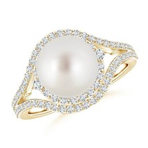 14k Yellow Gold Cultured South Sea White Pearl Diamond Double Halo Ring - $1,308.88+