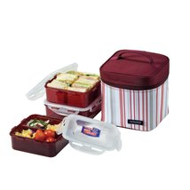Lock & Lock Square Lunch Box 3-Piece Set with Insulated Stripe Bag, Purple - $49.49