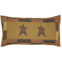 2 Stratton Hand-quilted Lux.King Shams - Primitive Stars and Plaids - VHC Brands