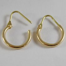 18K YELLOW GOLD EARRINGS MINI CIRCLE HOOP 14 MM 0.55 IN DIAMETER MADE IN ITALY image 3