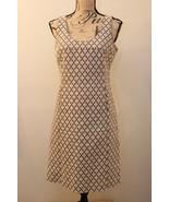 TORY BURCH DRESS SIZE 6 BROWN COTTON TWEED WEAVE GEOMETRIC LINED SHEATH ... - $148.49