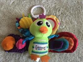 Lamaze Baby Green Peacock Fleece Crinkle Ribbons Rattle Baby Toy Rainbow... - $7.38
