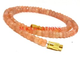 "Natural Peach Moonstone 3-4mm Rondelle Faceted Beads 28"" Long Beaded Nec... - $23.83"