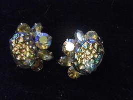 Vintage BEAU JEWELS Clip On Earrings Green Tone Glass Gem Costume Fashio... - $14.66
