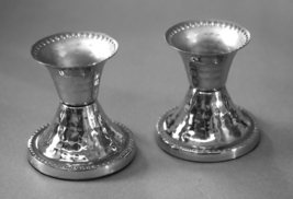 Judaica Small Pair Candlesticks Candle Holders Shabbat Holiday Hammered Nickel  image 1