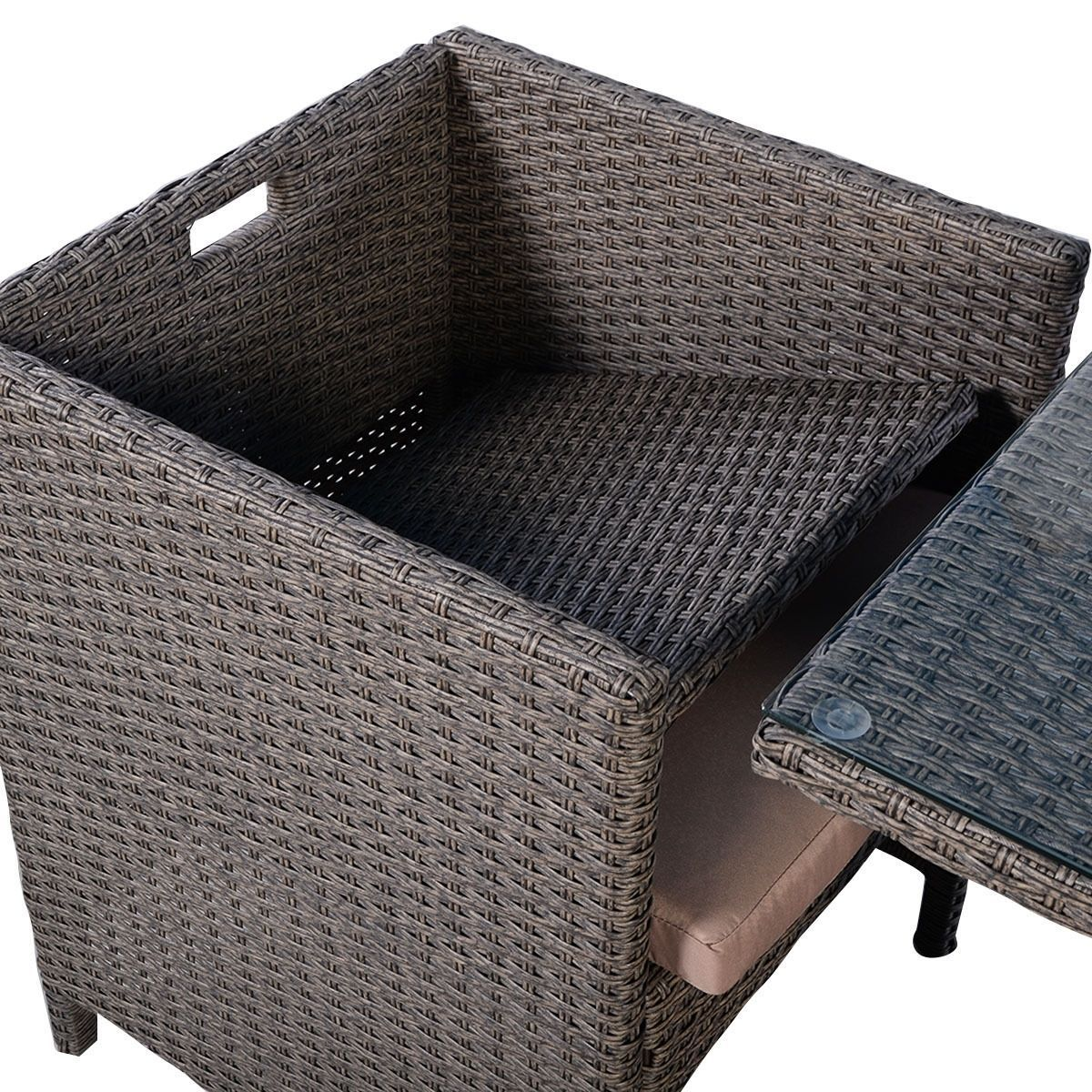 Garden Rattan Set 3pcs Table Chairs Cushioned Outdoor Patio Small Dining Set  image 5
