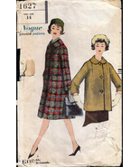 Vintage 1950s Coat in Two Lengths Vogue 1627 Teen Size - $20.00