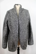 Talbots L Gray Marled Open Front Mid-Length Cardigan Sweater Cotton Alpaca - $28.49
