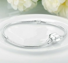 Silver Plated Bracelet 3mm Snake chain with Magnetic Barrel Clasp ITALY ... - $5.87