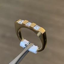 18k Yellow Gold Mens Diamond Ring Princess Cut Hallmarked Size N BHS - $1,226.81