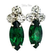 Emerald Green Rhinestone Navette Earrings, Vintage - $12.00
