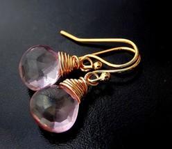 Pink Mystic Quartz Earrings, Gold Drop Earrings, Wire Wrapped Pink Gemstone Tear - $25.00