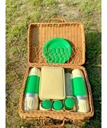 VTG  Freezheat vacumware Wicker Picnic Basket with thermos plates salt p... - $69.29