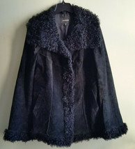 EXPRESS Fur Trim Suede Leather Jacket, Poly Filled, Black, Size M, Pre-o... - $35.99