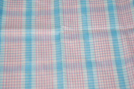 "Vintage~BLUE/PINK/WHITE Plaid~Quilt Fabric 1 1/2 yds. x 48"" wide - $8.99"