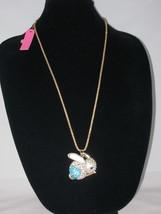 NEW Betsey Johnson Turquoise & White Rhinestone Pendant on lo... - $24.50