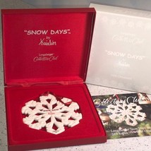 LONGABERGER COLLECTORS CLUB ORNAMENT CHRISTMAS SNOW DAYS BY KAITLIN SNOW... - $24.75
