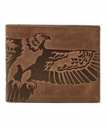 NEW FOSSIL MEN'S LEATHER EAGLE BIFOLD CREDIT CARD WALLET BROWN - $29.65