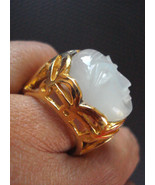 Large Moonstone Ring Georgian carved man moon Size 6.75 avlb - $150.00