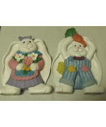 Figurines Girl White Rabbit with Flowers Boy White Rabbit with Carrot  - $14.95