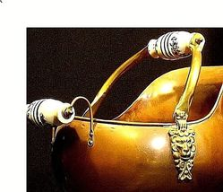 Cauldron Kettle with Glass Handle w/Blue Flowers Vintage Brass AA18-1032 image 5