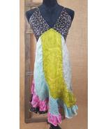 Little Journey women L dress patch work spaghetti straps handkerchief Gy... - $16.83