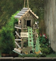 Ranger Station Cabin Birdhouse with Moose, Pine Tree and Ladder - $29.95