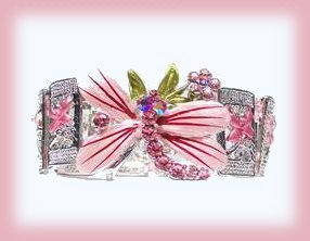 PINK DRAGONFLY CUFF BANGLE BRACELET Floral  Panels New
