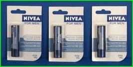 3 NIVEA for MEN Active Care LIP Balm Stick Shine-Free Protection 4.8g - $14.99