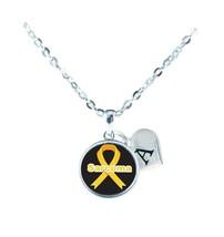 Custom Sarcoma Awareness Yellow Ribbon Silver Necklace Jewelry Choose Initial - $14.99