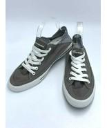 NEW Burnetie Womens 9 Gray Canvas Navy White Gingham Heel Sneakers Shoes - $21.99
