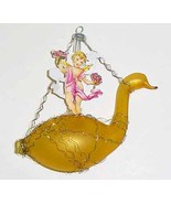 Vintage Wire Wrapped Glass Swan & Die-Cut Angel Christmas Ornament - W. ... - $39.99