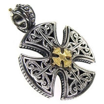 Gerochristo 5355 -  Solid 18K Gold & Sterling Silver Maltese Cross Pend... - $330.00