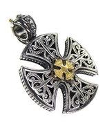 Gerochristo 5355 -  Solid 18K Gold & Sterling Silver Maltese Cross Pend... - $330.00