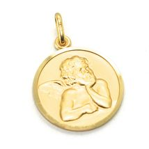 SOLID 18K YELLOW GOLD MEDAL, GUARDIAN ANGEL, 17 mm DIAMETER, VERY DETAILED image 5
