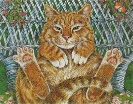 Lazy Summer Day Fat Ginger Cat 100 pc Bagged Boxless Jigsaw Puzzle NO BOX - $9.85