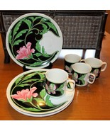 Neiman Marcus Luncheon Set of 4 Plates Demitasse Cups Japan Flower Butte... - $98.95