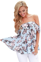Light Blue Pink Floral Off Shoulder Blouse  - $18.47