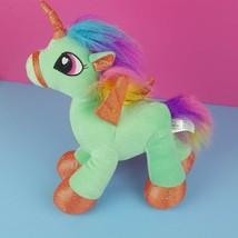 "Six Flags Plush Rainbow Unicorn Pegasus Wings Shimmer Green 12"" Standing  - $21.77"